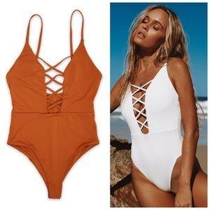 LAST ONE | Rust seamless one piece swimsuit